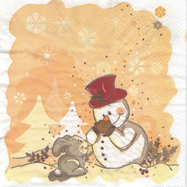 """Салфетки бумажные для декупажа """"Зайка и снеговик"""""""