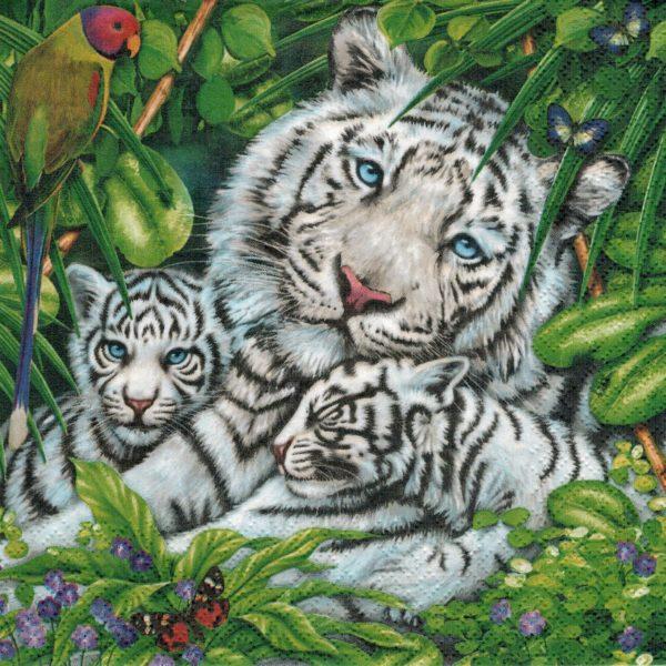 """Салфетки бумажные для декупажа """"Семейство белых тигров"""""""