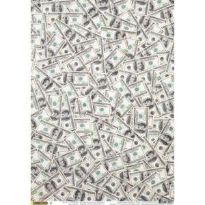 "Бумага рисовая для декупажа ""Доллары"" 28х38 см"