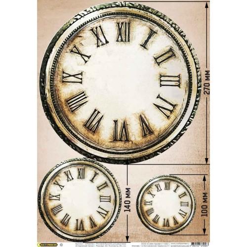 """Бумага рисовая для декупажа """"Старинные часы"""" 28х38 см"""