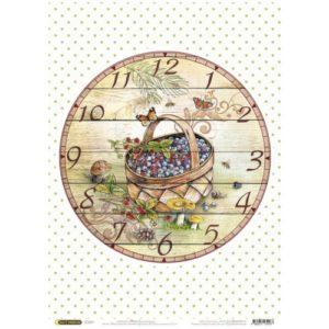 """Бумага рисовая для декупажа """"Часы: Корзинка"""" 28x38 см"""
