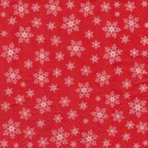 Салфетка бумажная ттрехслойная для декупажа снежинки на красном