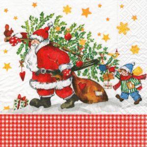 """Салфетка бумажная трехслойная для декупажа """"Дед Мороз с подарками"""""""
