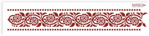 """Трафарет пластиковый """"Бордюр индийский с мелкими цветами"""""""