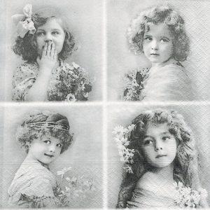 """Салфетки бумажные для декупажа """"Девочки с цветами"""""""