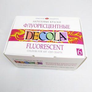Набор акриловых флуоресцентных красок DECOLA, 6 штх20 мл