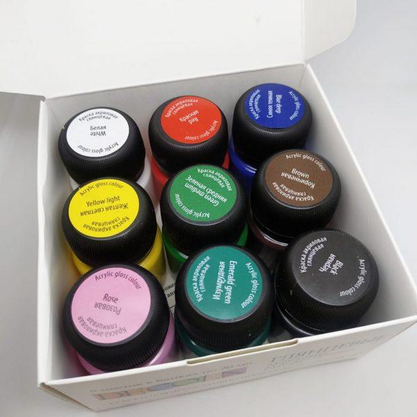 Набор акриловых глянцевых красок DECOLA, 9 шт х20 мл