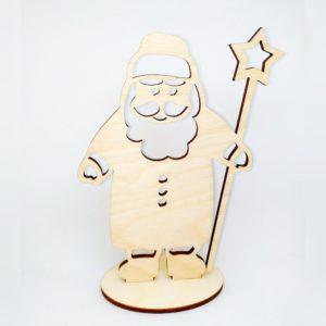 """Деревянная заготовка """"Дед Мороз на подставке"""", фанера"""
