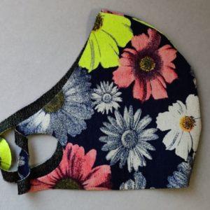Маска тканевая защитная многоразовая, узор цветы (джерси)