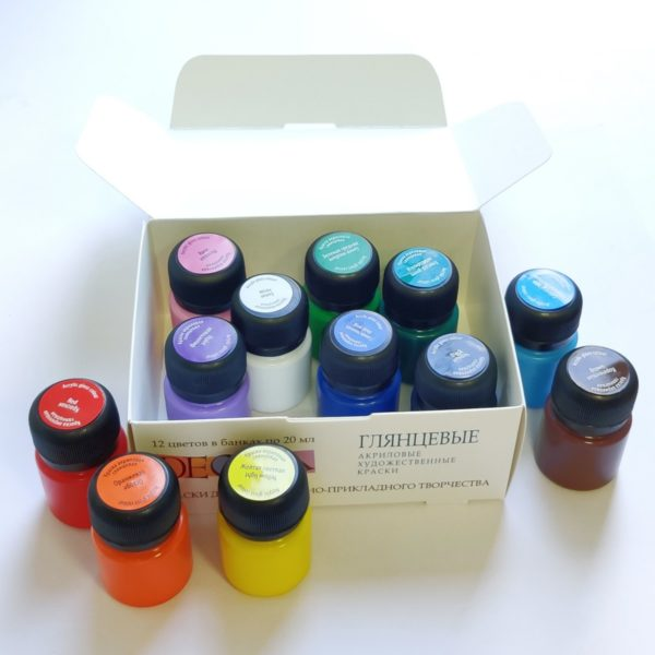 Набор акриловых глянцевых красок DECOLA, 12 шт х 20 мл