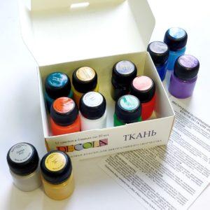 Набор акриловых красок по ткани DECOLA, 12 шт х 20 мл
