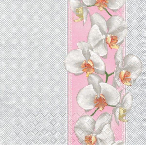 "Салфетка бумажная для декупажа ""Белая орхидея"""