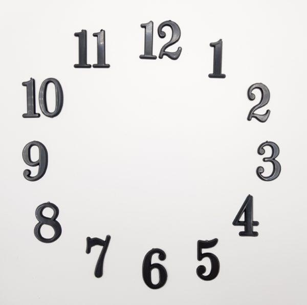 """Комплект пластиковых цифр для часов """"Арабские"""" черные 3 см"""