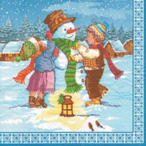 """Салфетки бумажные для декупажа """"Дети и снеговик"""""""
