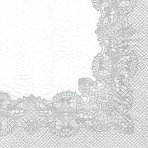 """Салфетка бумажная для декупажа """"Королевское кружево (серебро)"""""""