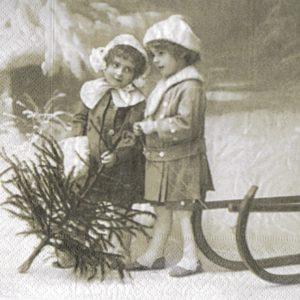 """Салфетки бумажные для декупажа """"Рождественские девочки"""""""