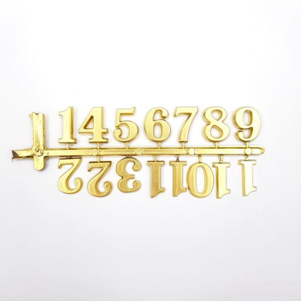 """Комплект пластиковых цифр для часов """"Арабские"""" золотые 20 мм"""