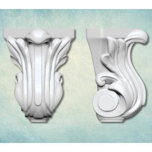 Молд 3D Ножка Лист барокко
