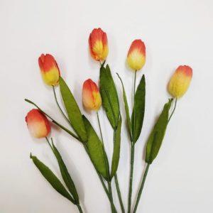 Тюльпан бумажный цвет желто-красный