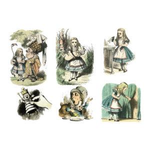 """Бумага рисовая для декупажа """"Алиса в стране чудес клиарт №1"""" А3"""