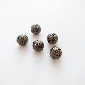Бусины металлические с узором 12 мм цвет бронза