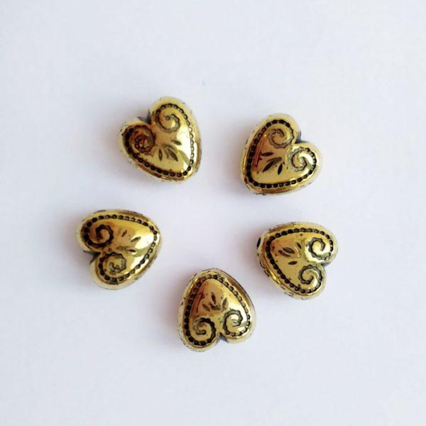 Бусины под металл сердце 7*12 мм цвет античная бронза