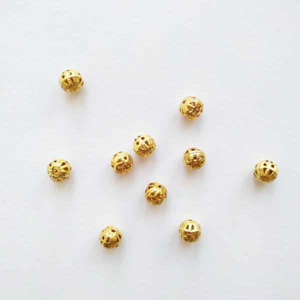 Бусины металлические с узором 6 мм цвет золото