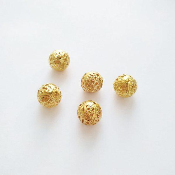 Бусины металлические с узором 12 мм цвет золото