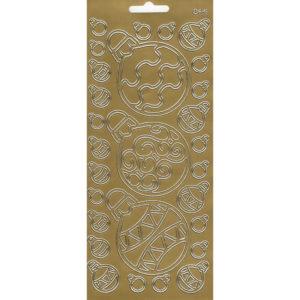 """Контурные наклейки """"Новогодние шары"""" лист 10*23 см цвет золото"""