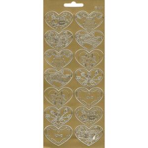 """Контурные наклейки """"Сердечки"""" лист 10*23 см цвет золото"""