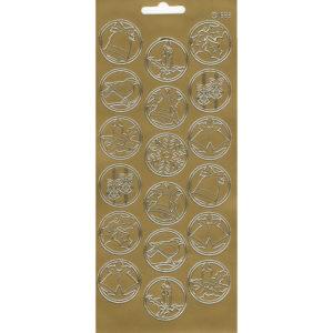 """Контурные наклейки """"Рождественские мотивы"""" лист 10*23 см цвет золото"""