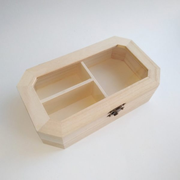 Шкатулка из бамбука со стеклянной вставкой 20*11,5*5 см