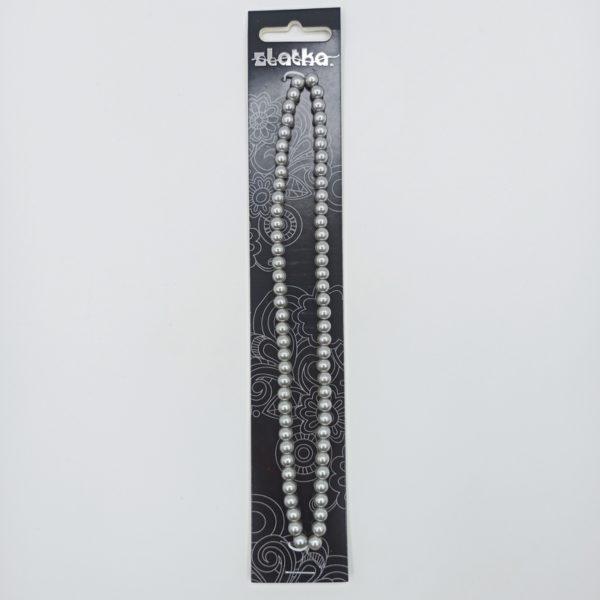 Бусины стеклянные под жемчуг 6 мм цвет серебряный