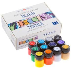 Фото набора красок по ткани Декола